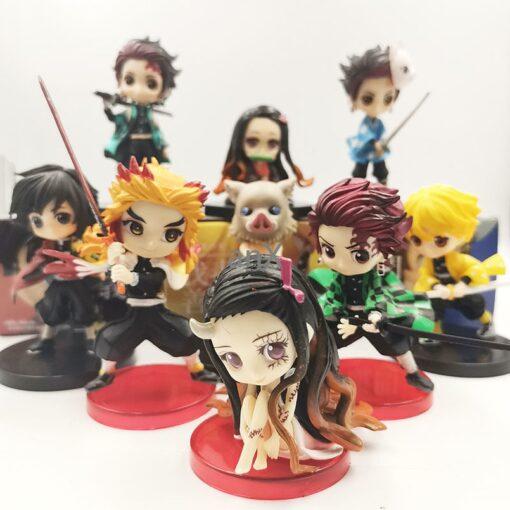 3pcs set Q ver Kimetsu no Yaiba Nezuko Tanjirou Zenitsu Giyuu Inosuke PVC Action Figure Anime 2