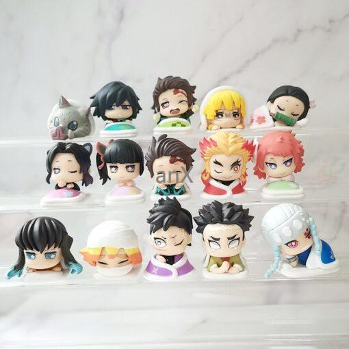 3pcs set Q ver Kimetsu no Yaiba Nezuko Tanjirou Zenitsu Giyuu Inosuke PVC Action Figure Anime 4
