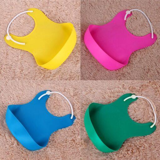 4 Colors Baby Waterproof Feeding Bibs Newborn Baby Food Saliva Pocket Silicone Bibs Burp Cloth Towel 1