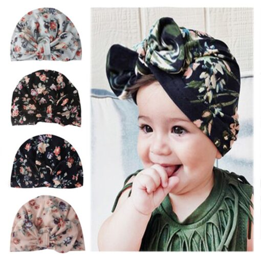 4 Colors Infant Headbands Solid Cotton Turban Headband for Girls Stretchy Beanie Hat Headwear Baby Hair 6