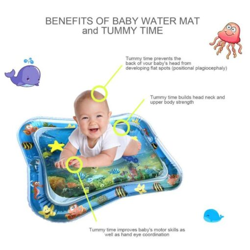 4 Designs Baby Kids Water Play Mat Inflatable Infant Tummy Time Playmat Toddler for Baby Fun 4