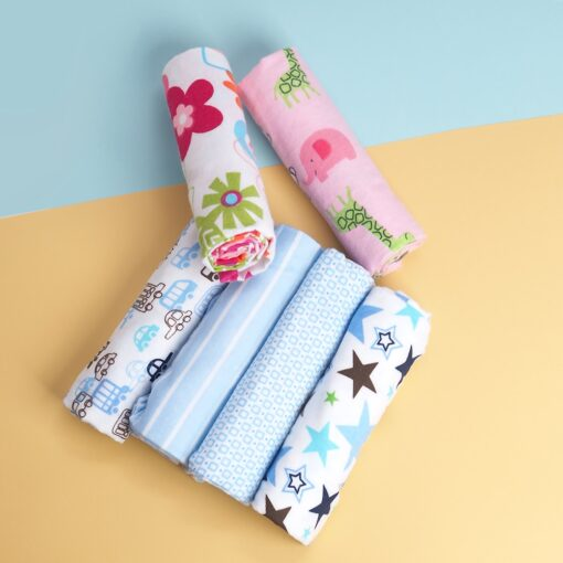 4 Pcs Lot 100 Cotton Flannel Receiving Baby Blanket Soft Baby Muslin Diapers Newborn Swaddle Blanket 1