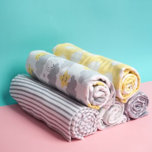 4 Pcs Lot Baby Blankets Newborn Muslin 100 Cotton Flannel Muslin Diapers Baby Swaddle For Photography 1