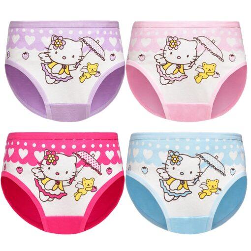 4 Pcs Lot Baby Girls Panties Cute Cat Cartoon Briefs Stretch Breathable Panties For Girl Kids 1