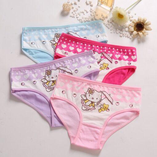 4 Pcs Lot Baby Girls Panties Cute Cat Cartoon Briefs Stretch Breathable Panties For Girl Kids 2