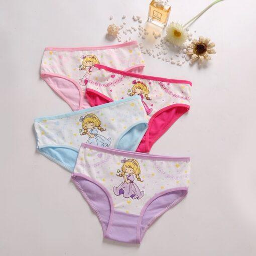 4 Pcs Lot Baby Girls Panties Cute Cat Cartoon Briefs Stretch Breathable Panties For Girl Kids 4