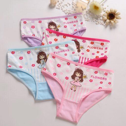 4 Pcs Lot Baby Girls Panties Cute Cat Cartoon Briefs Stretch Breathable Panties For Girl Kids