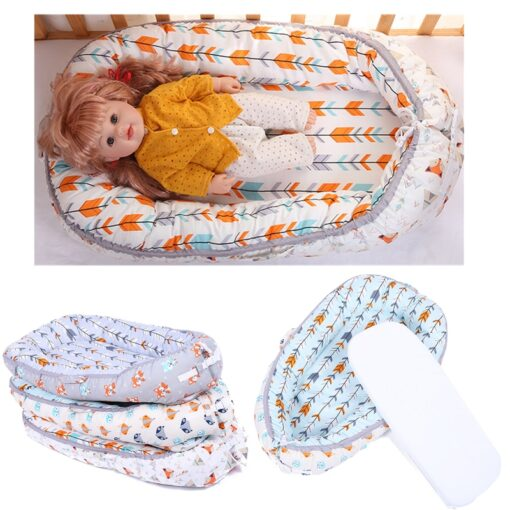 45 80CM Portable Baby Nest Bed for Boys Girls Travel Bed Infant Cotton Cradle Sleeping Cribs
