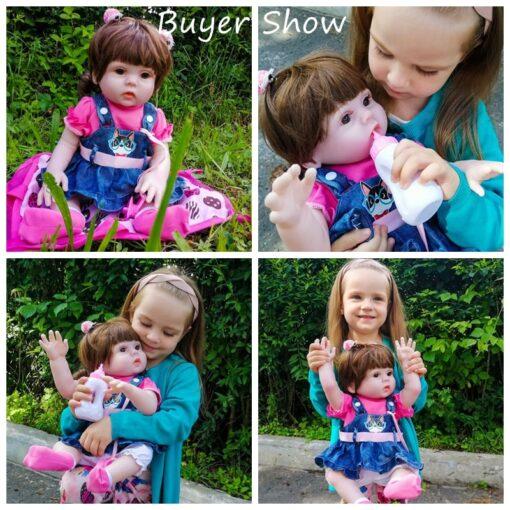 45CM Baby Silicone Reborn Realistic Drinking Water Pee Vinyl Body Doll Reborn Lifelike Baby Doll Newborn 3