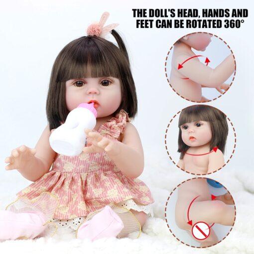 45CM Baby Silicone Reborn Realistic Drinking Water Pee Vinyl Body Doll Reborn Lifelike Baby Doll Newborn 4