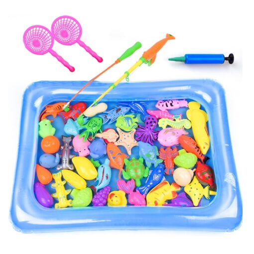 47parts lot magnetic fishing toys inflatable pool rod net set for kids child model play outdoor 2