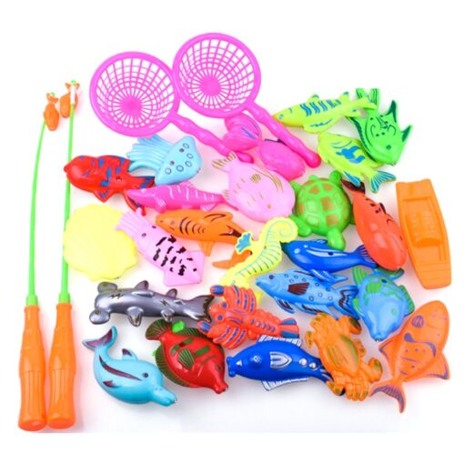 47parts lot magnetic fishing toys inflatable pool rod net set for kids child model play outdoor 3