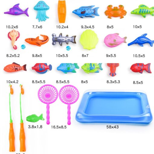 47parts lot magnetic fishing toys inflatable pool rod net set for kids child model play outdoor 5