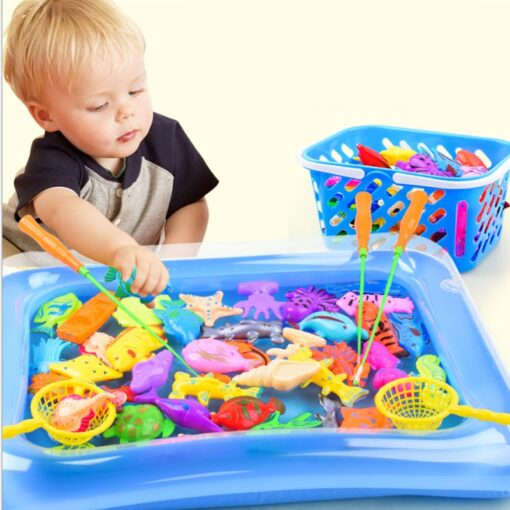 47parts lot magnetic fishing toys inflatable pool rod net set for kids child model play outdoor