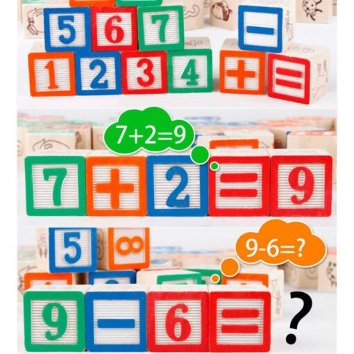 48 Printed Blocks Children s Wooden Toys Alphanumeric Pattern Building Blocks Early Education Cognitive Puzzle Assembly 1