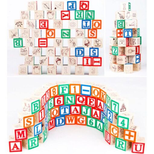 48 Printed Blocks Children s Wooden Toys Alphanumeric Pattern Building Blocks Early Education Cognitive Puzzle Assembly 2