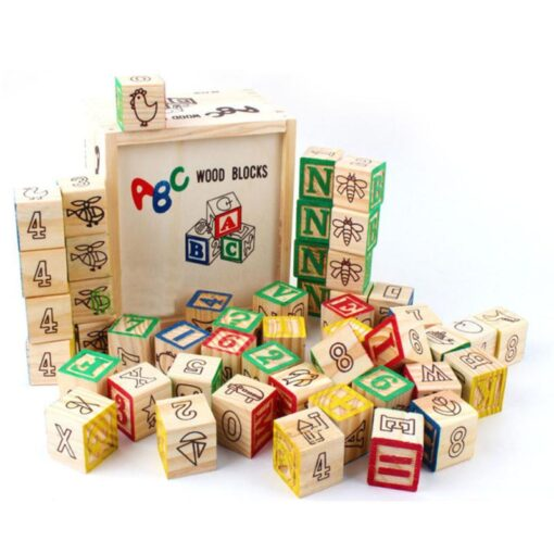 48 Printed Blocks Children s Wooden Toys Alphanumeric Pattern Building Blocks Early Education Cognitive Puzzle Assembly 3