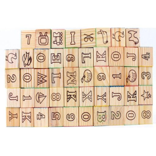 48 Printed Blocks Children s Wooden Toys Alphanumeric Pattern Building Blocks Early Education Cognitive Puzzle Assembly 5
