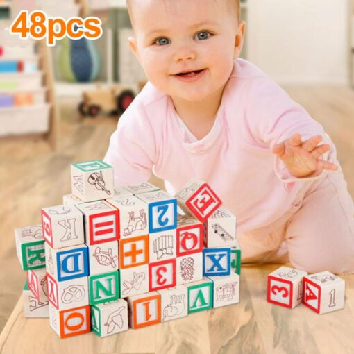 48 Printed Blocks Children s Wooden Toys Alphanumeric Pattern Building Blocks Early Education Cognitive Puzzle Assembly