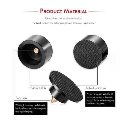 4PCS Aluminium Speaker Spikes Pads Isolation Stand Feet Mats for HiFi Amplifier 3