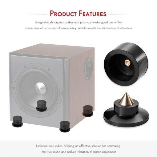 4PCS Aluminium Speaker Spikes Pads Isolation Stand Feet Mats for HiFi Amplifier 4