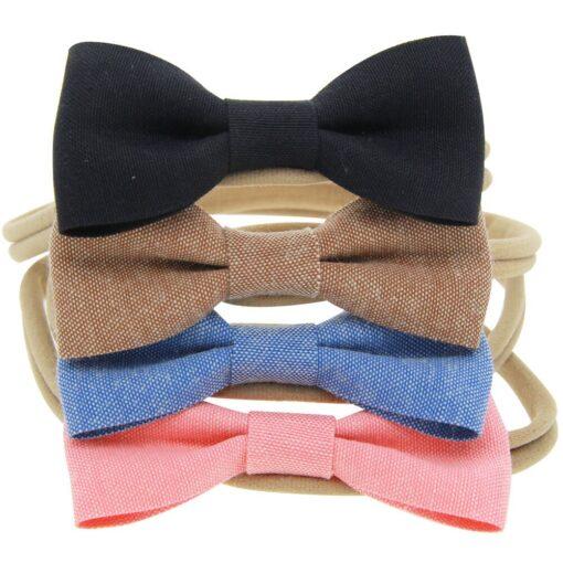 4PCS Baby Kids Girls Bowknot Elastic Hairband Headband Lovely Kids Girl Baby Hairband Toddler Cotton Accessories 5