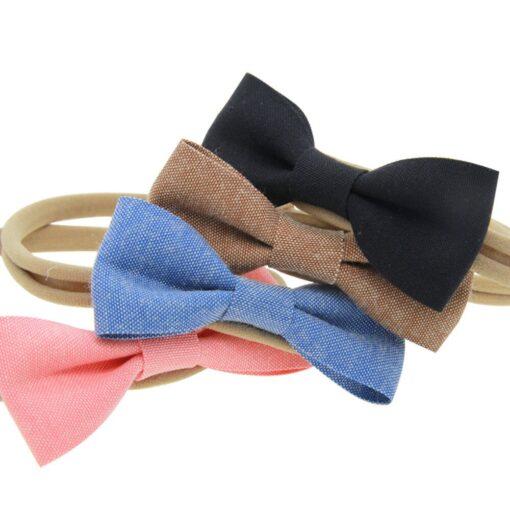 4PCS Baby Kids Girls Bowknot Elastic Hairband Headband Lovely Kids Girl Baby Hairband Toddler Cotton Accessories