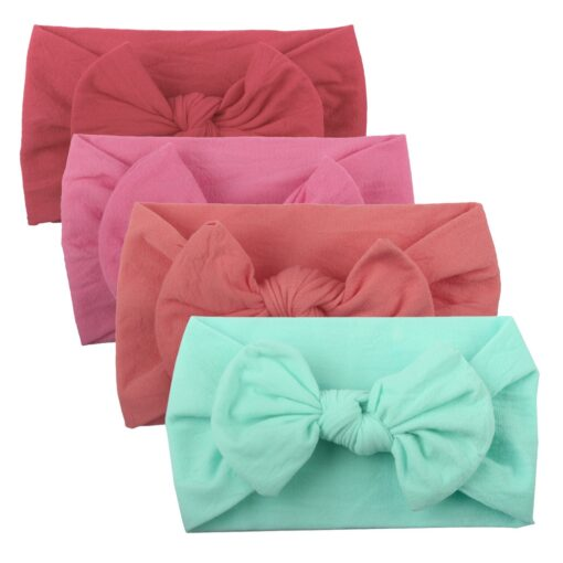 4PCS Baby Toddler Kids Girls Mixed color Knot Turban Headband Bow Elastic Head Wraps headwear for 1
