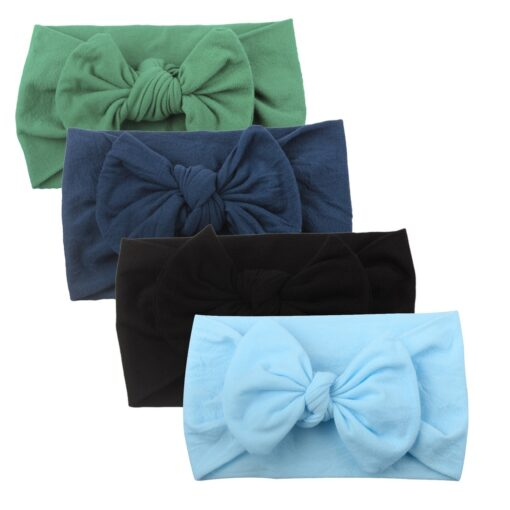 4PCS Baby Toddler Kids Girls Mixed color Knot Turban Headband Bow Elastic Head Wraps headwear for 2