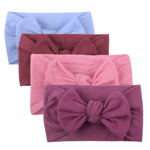 4PCS Baby Toddler Kids Girls Mixed color Knot Turban Headband Bow Elastic Head Wraps headwear for 3