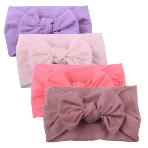 4PCS Baby Toddler Kids Girls Mixed color Knot Turban Headband Bow Elastic Head Wraps headwear for 4