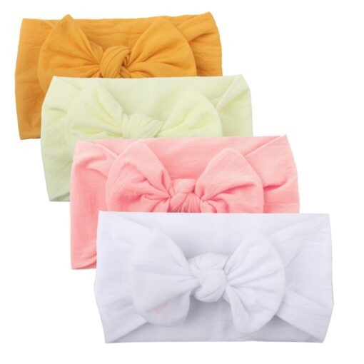 4PCS Baby Toddler Kids Girls Mixed color Knot Turban Headband Bow Elastic Head Wraps headwear for 5