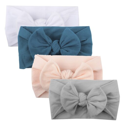 4PCS Baby Toddler Kids Girls Mixed color Knot Turban Headband Bow Elastic Head Wraps headwear for