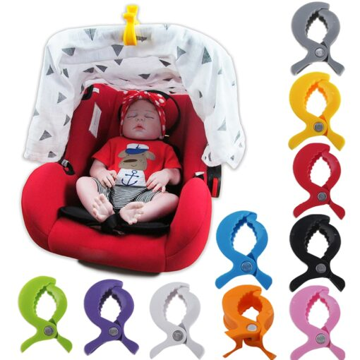 4pc lot Baby Colorful Car Seat Accessories Plastic Pushchair Toy Clip Pram Stroller Peg To Hook