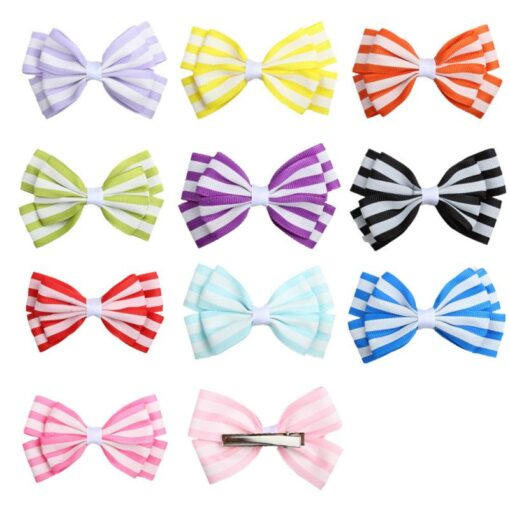 5 1 Pcs Girls Hair Clip Fashion Children Baby Toddler Newborn Stripe Cute Bow Knot Beautiful 1