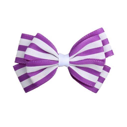 5 1 Pcs Girls Hair Clip Fashion Children Baby Toddler Newborn Stripe Cute Bow Knot Beautiful 2