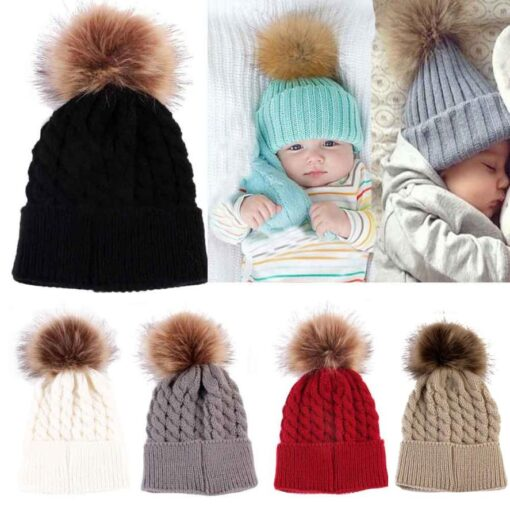 5 Colors 2018 Newborn Cute Winter Kids Baby Hats Knitted Wool Hemming Hat photography props nice