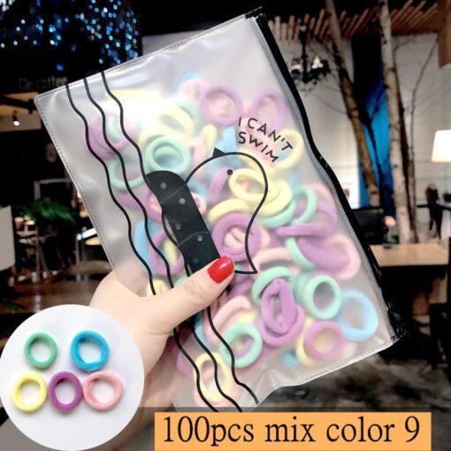 50 100pcs Girls Candy Colors Nylon Elastic Hair Bands Ponytail Holder Rubber Bands Scrunchie Headband Hair