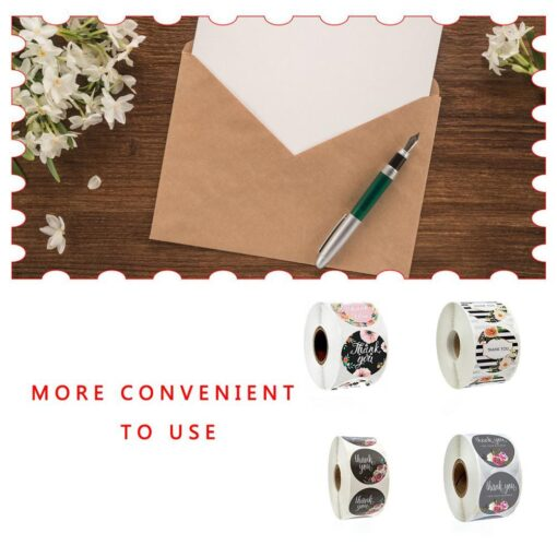 500pcs Round Flowers Handmade Crafts Thank You Stickers Seal Labels for Envelope Cards Gift Package Scrapbooking 4