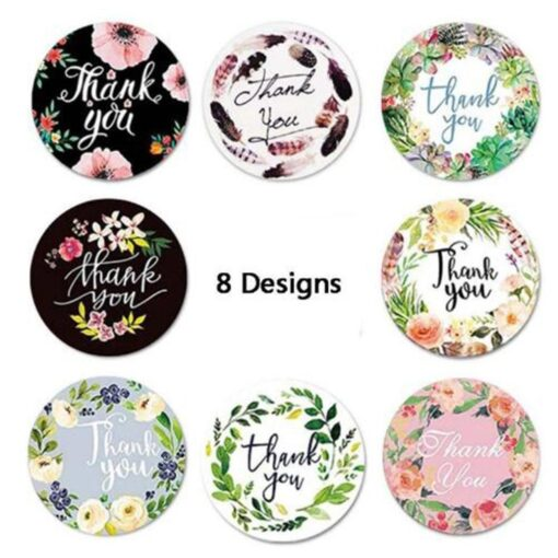 500pcs Round Flowers Handmade Crafts Thank You Stickers Seal Labels for Envelope Cards Gift Package Scrapbooking 7