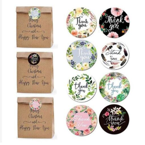 500pcs Round Flowers Handmade Crafts Thank You Stickers Seal Labels for Envelope Cards Gift Package Scrapbooking 8