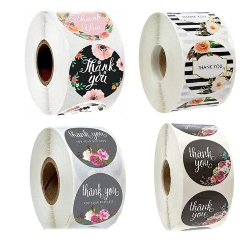 500pcs Round Flowers Handmade Crafts Thank You Stickers Seal Labels for Envelope Cards Gift Package Scrapbooking 9