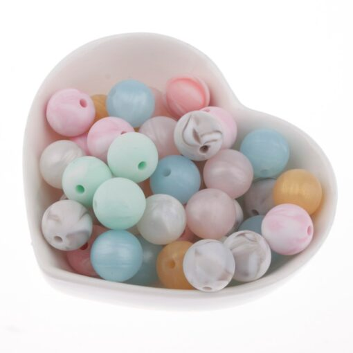 50PC Silicone Teething Beads Marble Metallic Round Baby Teether Bead DIY Baby Chew Silicone Teethers Necklace
