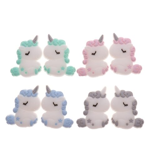 50PCS Unicorn Pearl Beads Silicone Bead Teething Toys Baby Diy Animal Rodent Set Food Grade Silicone 1