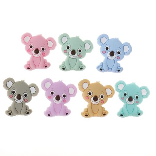 50PCS Unicorn Pearl Beads Silicone Bead Teething Toys Baby Diy Animal Rodent Set Food Grade Silicone 3