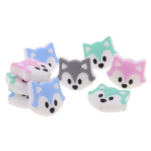 50PCS Unicorn Pearl Beads Silicone Bead Teething Toys Baby Diy Animal Rodent Set Food Grade Silicone 4
