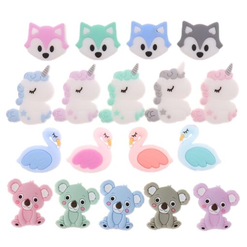 50PCS Unicorn Pearl Beads Silicone Bead Teething Toys Baby Diy Animal Rodent Set Food Grade Silicone