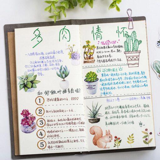 50pcs Creative Diary Journal Mini Paper Plants Sticker Flakes for DIY Scrapbook Photo Album Decoration 2