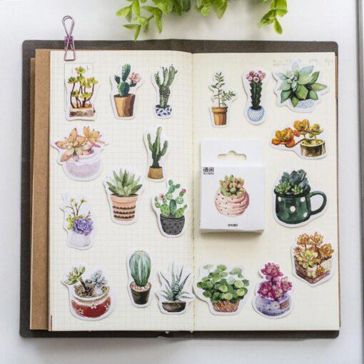 50pcs Creative Diary Journal Mini Paper Plants Sticker Flakes for DIY Scrapbook Photo Album Decoration 3