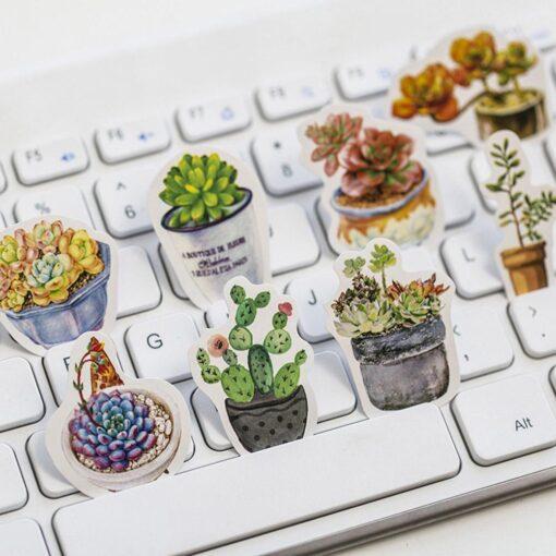 50pcs Creative Diary Journal Mini Paper Plants Sticker Flakes for DIY Scrapbook Photo Album Decoration 5